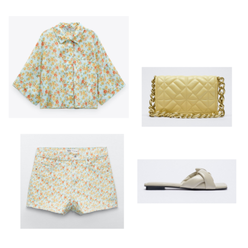 Zara summer 2021 collection outfit 5: yellow blue and orange matching shorts and button up shirt set, yellow bag with chain strap