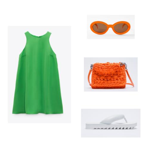 Zara summer 2021 collection outfit 6: bright geren mini dress, white puffy flip flops with jagged treads, orange retro round sunglasses, orange handbag