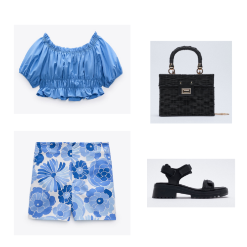 Zara summer 2021 collection outfit 7: blue puffy crop top, blue and white large floral print shorts, black chunky sandals, black purse