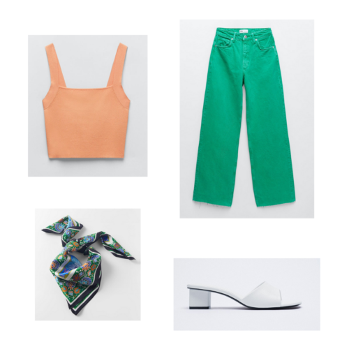 Zara summer 2021 collection outfit 8: orange crop tank, green oversized loose-fit jeans, white slides, silky scarf