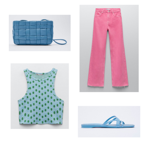 Zara summer 2021 collection outfit 9: blue and green retro print tank, pink jeans, blue flat sandals, blue woven purse