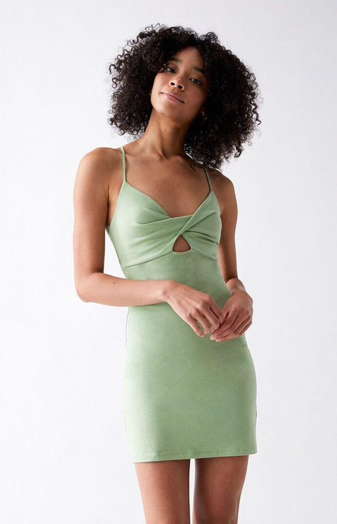 Sage green cutout mini dress
