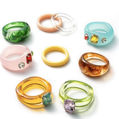 Chunky plastic multicolored rings with jewels from Amazon