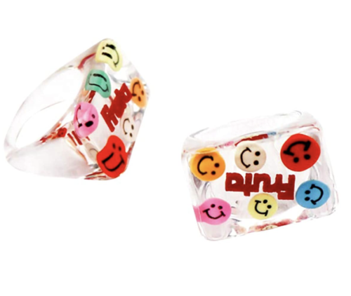 Chunky clear rings with bright stickers, Amazon fashion finds