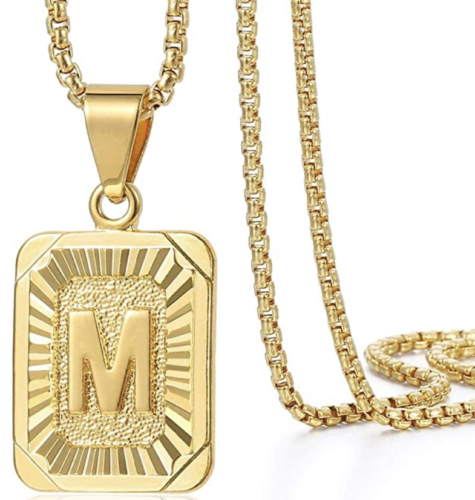 Gold initial pendant necklace