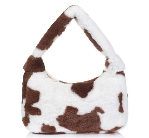 Furry cow print handbag, Amazon fashion finds