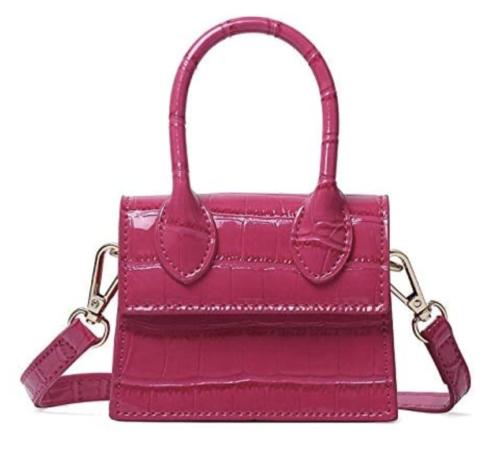 Pink mini crocodile print purse