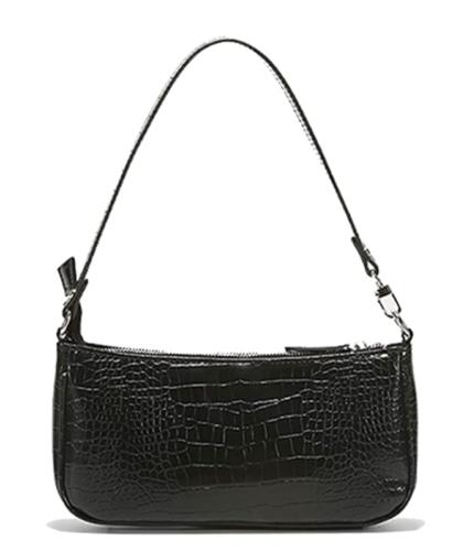 Black structured crocodile print shoulder bag