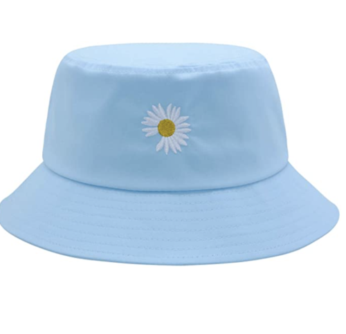 baby blue bucket hat with an embroidered daisy, Amazon fashion finds