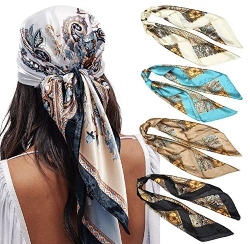 multicolored print silky scarf set