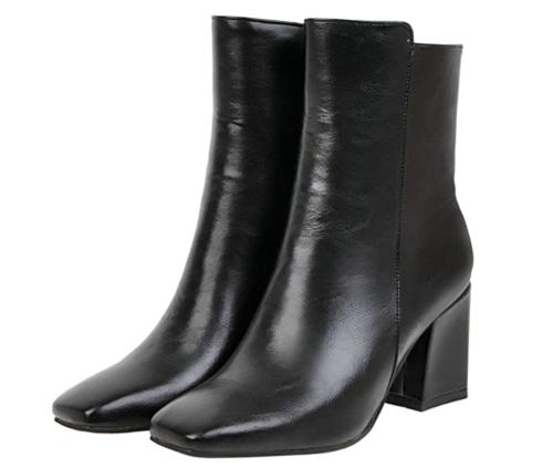 Black chunky heeled booties, Amazon fashion finds