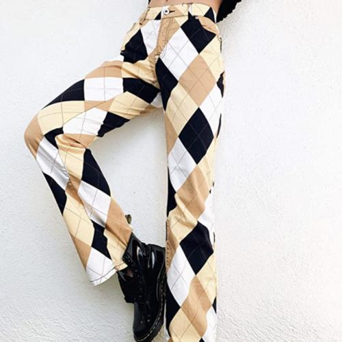 Argyle brown, tan, black, and white printed pants