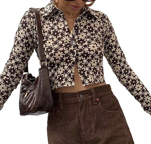 Brown patterned long sleeve button-up blouse, Amazon fashion finds
