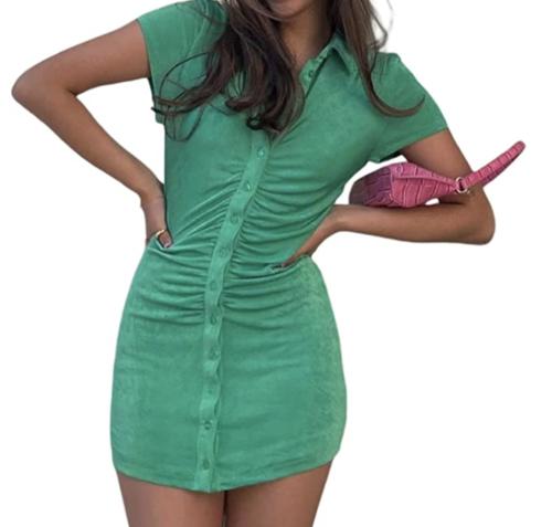Green button-up dress