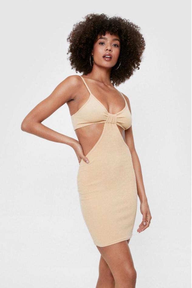 Beige cutout dress