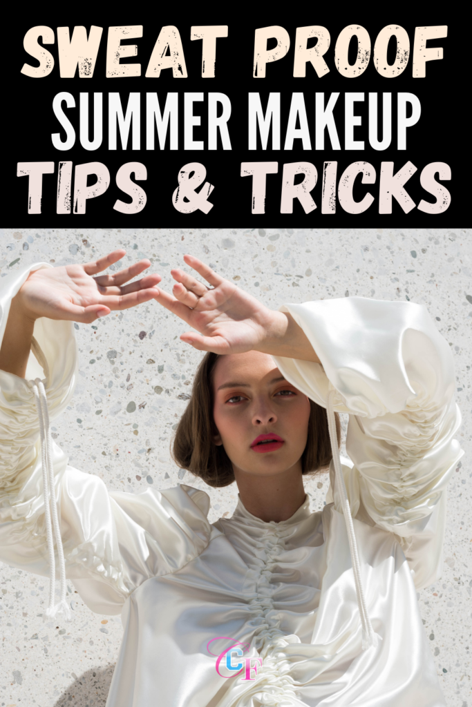 Sweat Proof Summer Makeup Tips & Tricks Header Image with Girl in white blouse blocking her face from shade