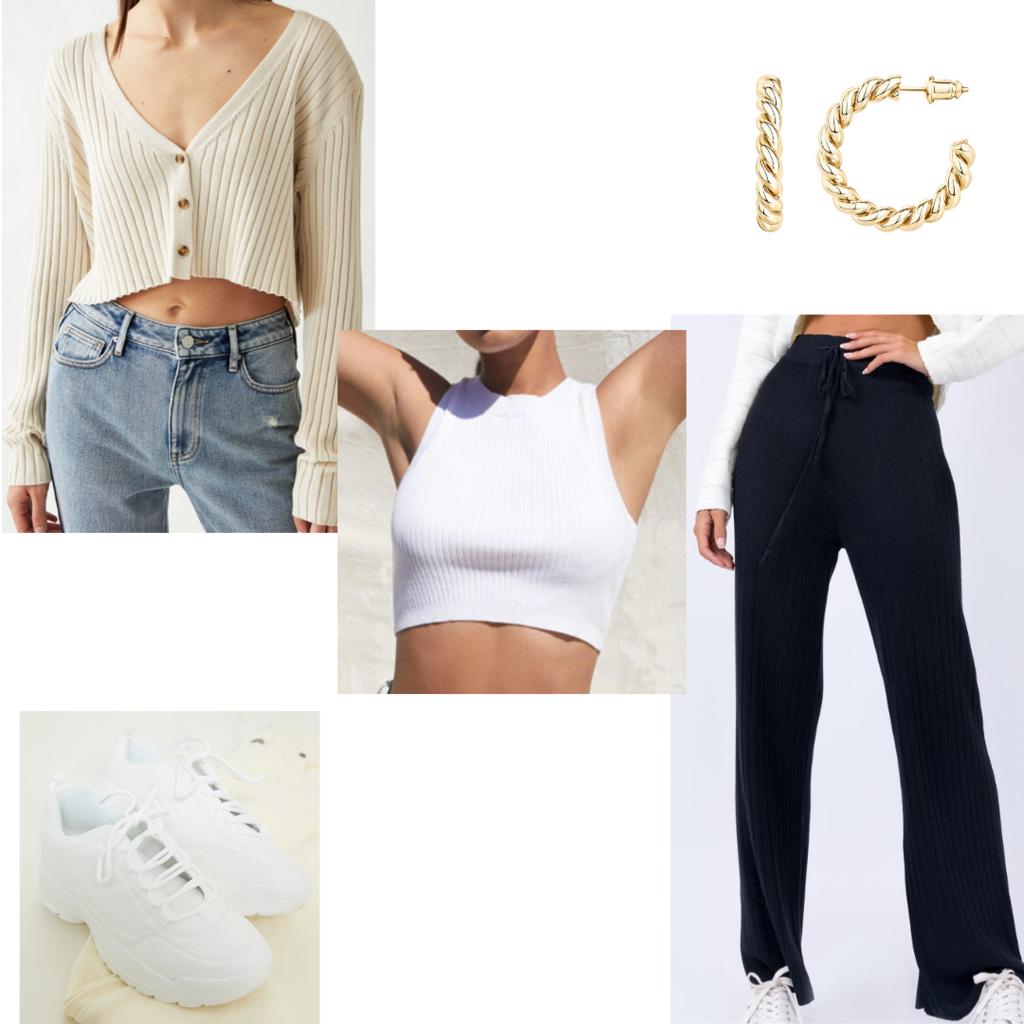 Comfortable airport outfit #2: Wide leg pants, dad sneakers, white crop top, cardigan, hoop earrings