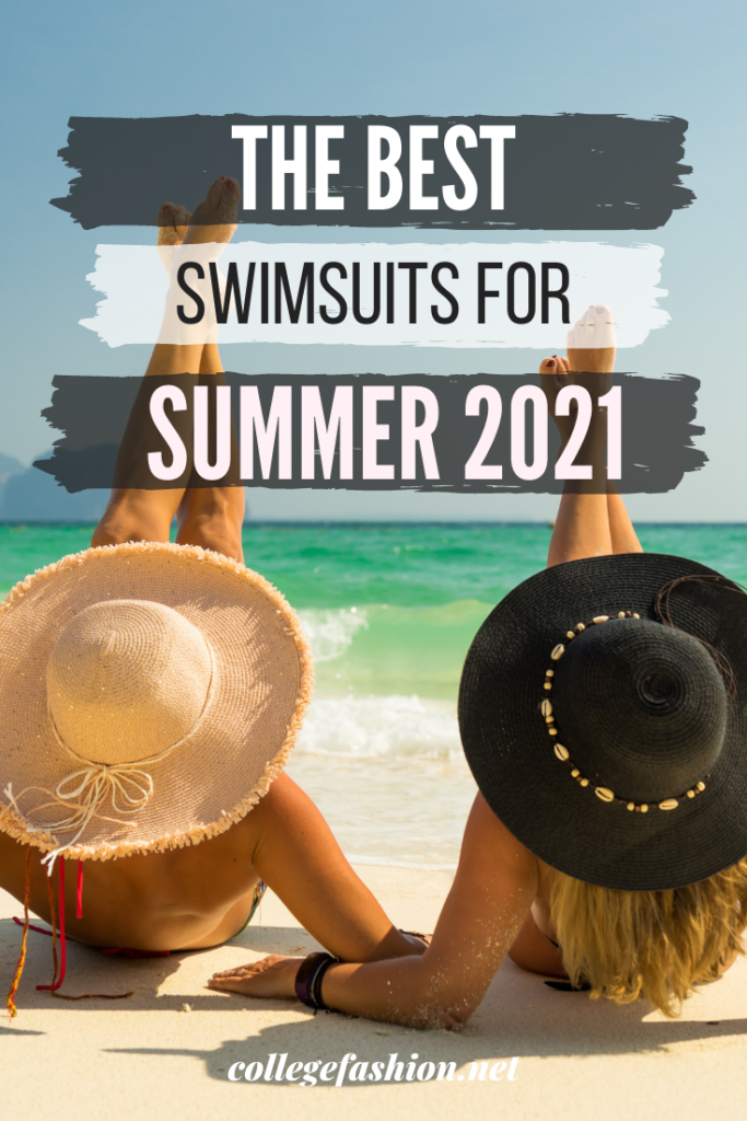 The Best Swimsuits for Summer 2021 header image, two girls laying on the beach with large sunhats
