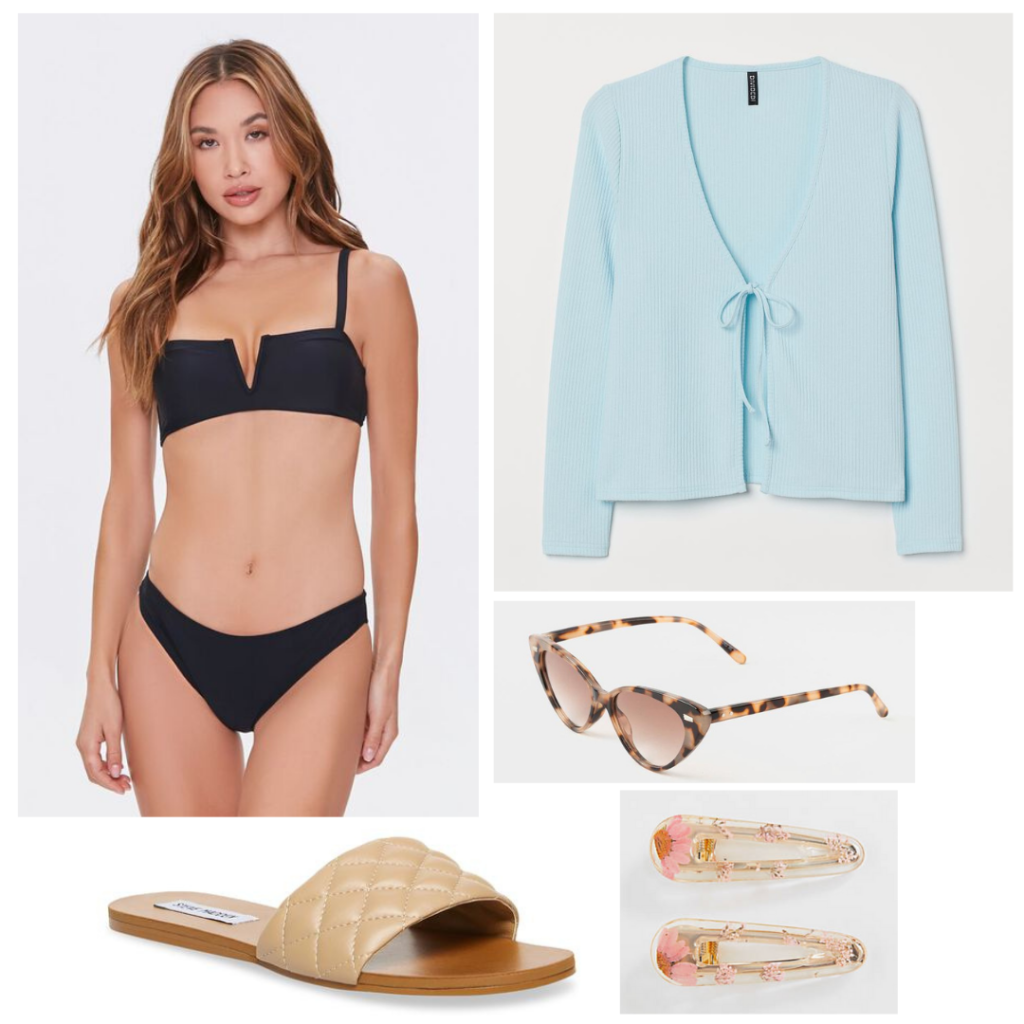 What to pack for a lake house: Outfit idea with black bikini, pale blue cardigan, quilted sandals, sunglasses, hair clips
