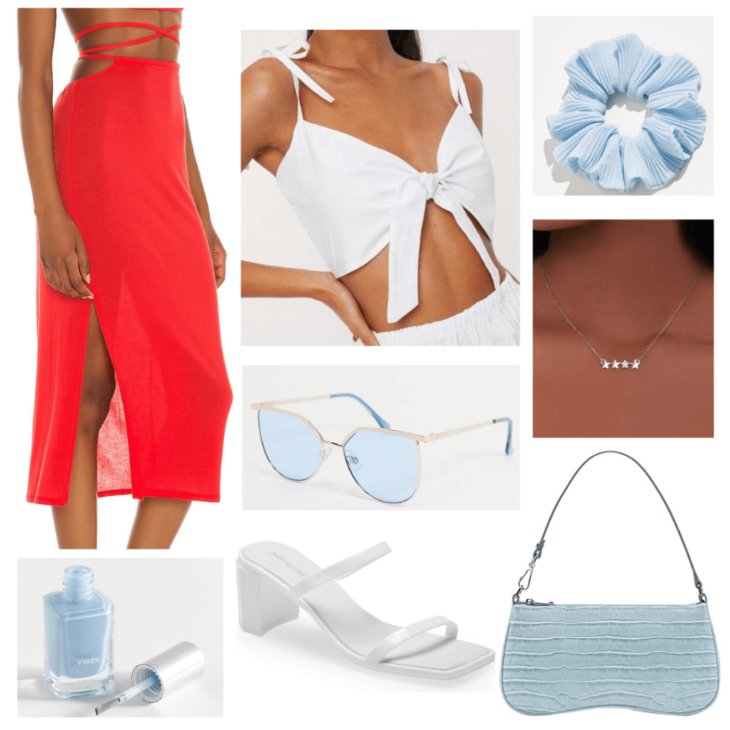 Fourth of July outfit ideas: What to wear to a friend's party with red midi skirt, white crop top, light blue scrunchie and sunglasses