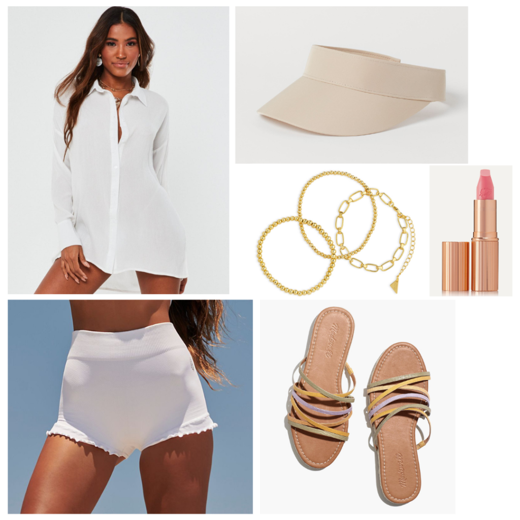 Lake day outfit idea: White bathing suit cover-up and shorts, sandals visor, gold jewelry