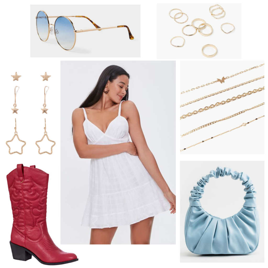 Cute Fourth of July outfit idea for women: White sundress, blue purse, red cowboy boots, gold star jewelry, blue sunglasses
