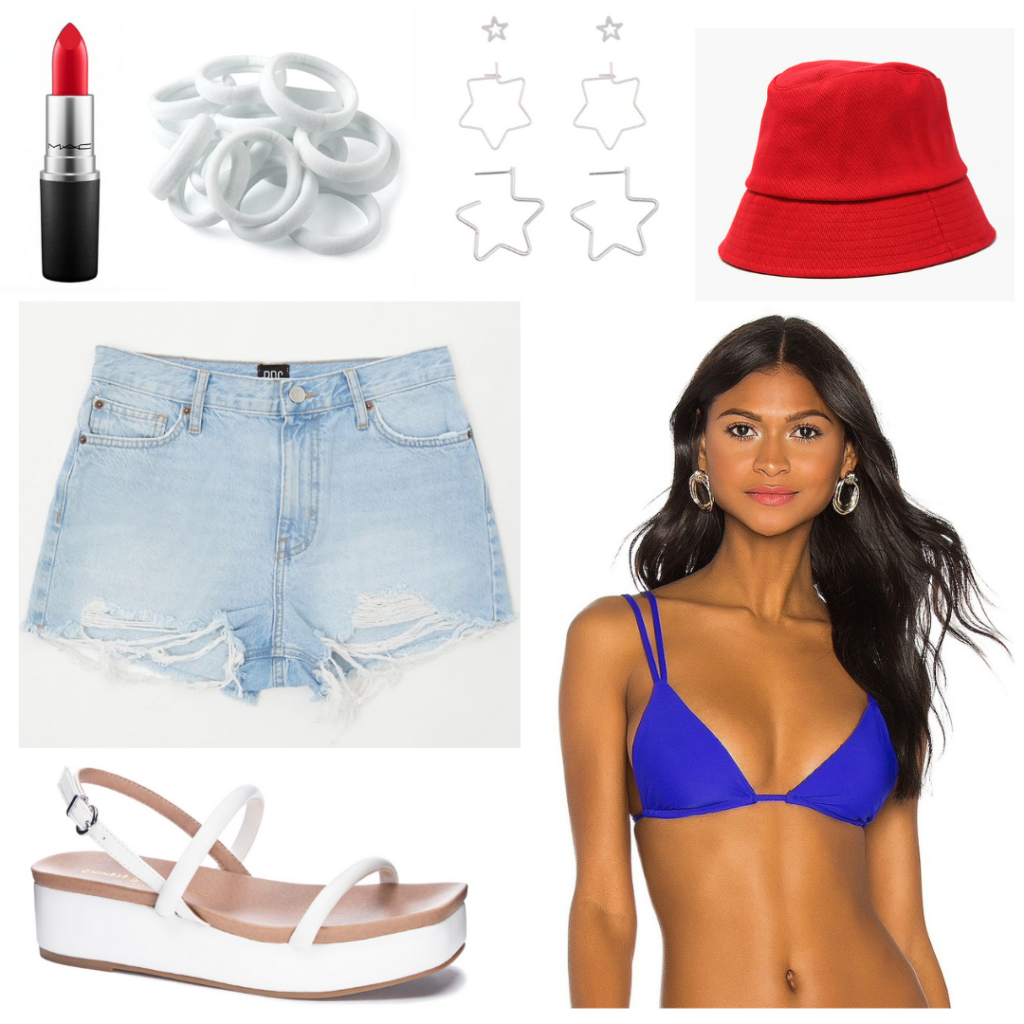 What to wear to the beach, pool, or lake on July 4th: Outfit idea with denim cutoffs, red bucket hat, blue bikini, white platform sandals
