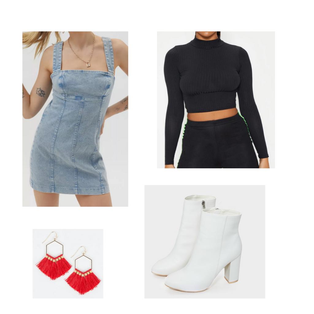 Game Day Outfit Sample Set 1: black long sleeve mock neck crop top shirt, denim dress, white booties, red fringe earrings
