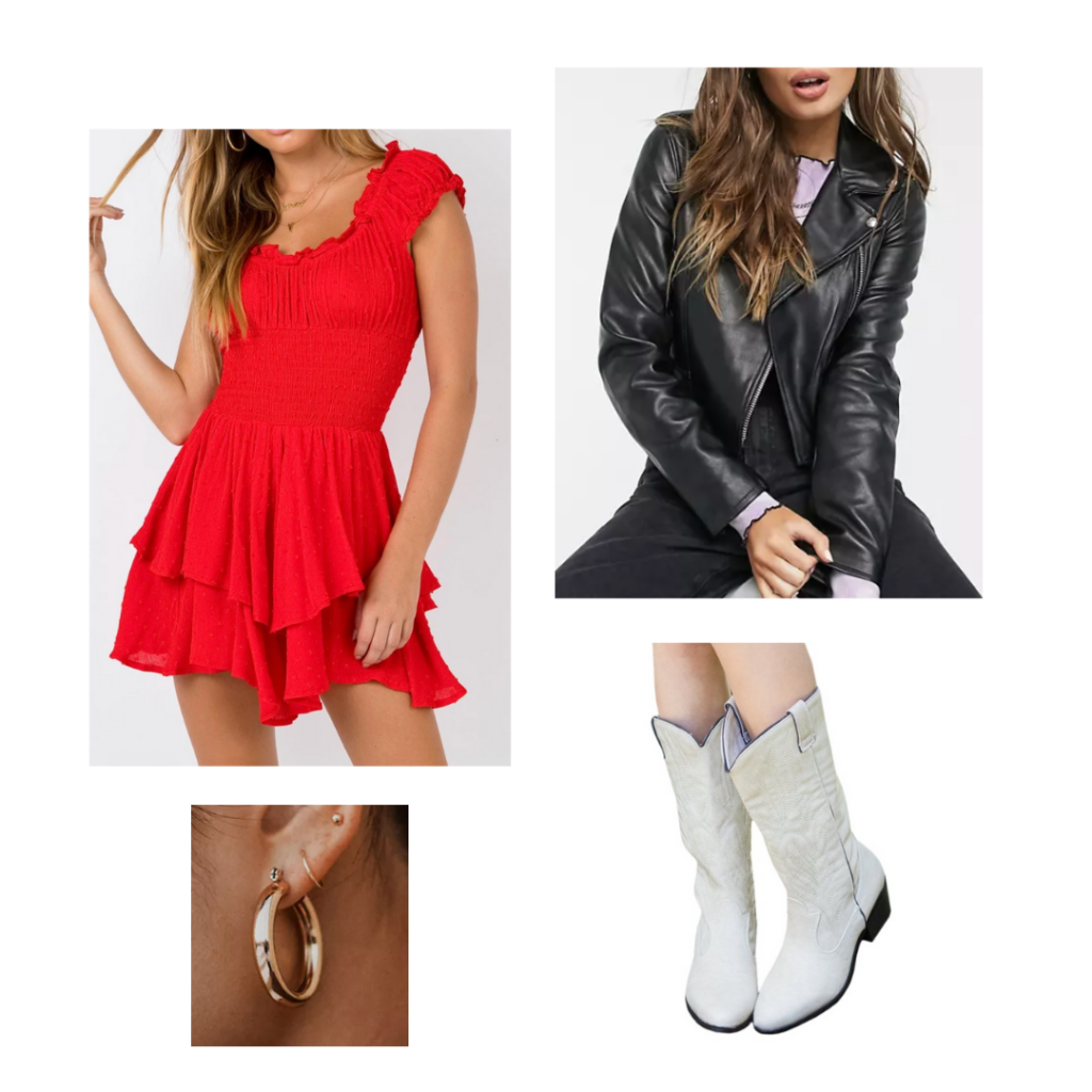 Sample Outfit 2: Red peasant dress, black motorcycle jacket, white cowboy boots, gold hoop earrings