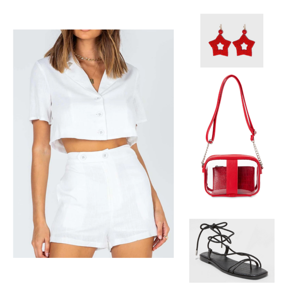 Game Day Outfit 3: white button up crop top and high-waisted shorts set, red star earrings, red clear purse, black lace up flat sandals