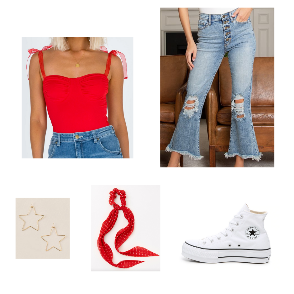 Sample Outfit 4: red sweetheart neckline bodysuit, distressed cropped flare jeans, white converse, red scrunchie scarf, star earrings