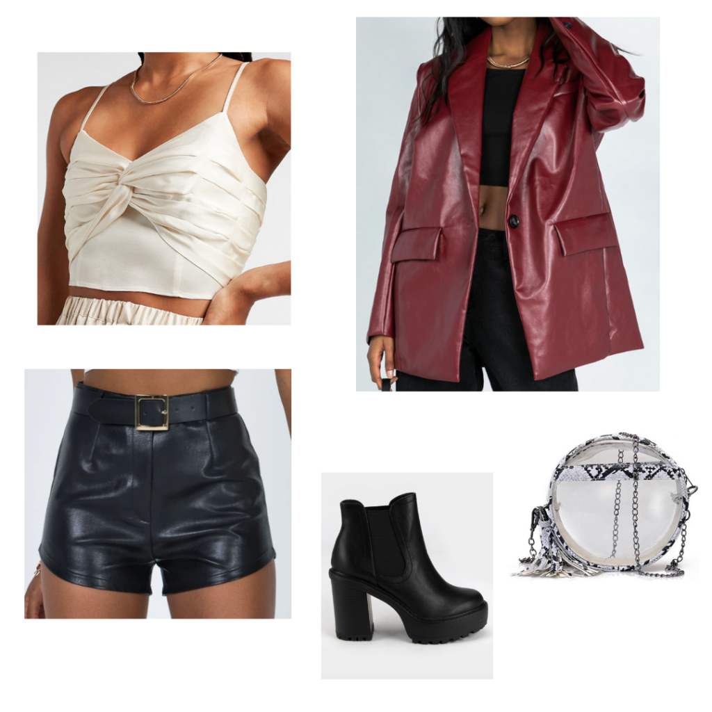 Game Day Outfit 5: white crop top cami, black leather shorts, maroon oversized pvc trench coat, chunky black booties
