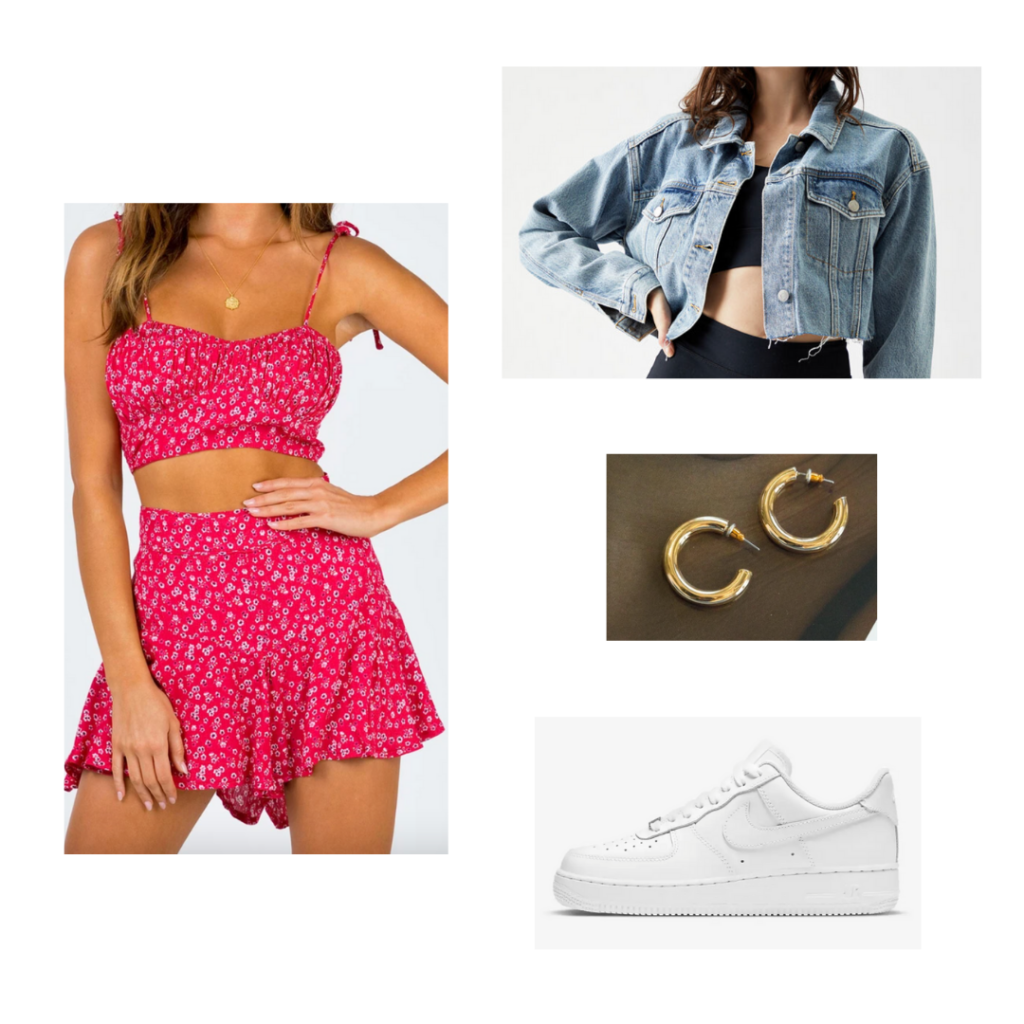 Sample Outfit 6: pink floral crop top and ruffled shorts set, cropped denim jacket, white Nike sneakers, chunky gold hoop earrings