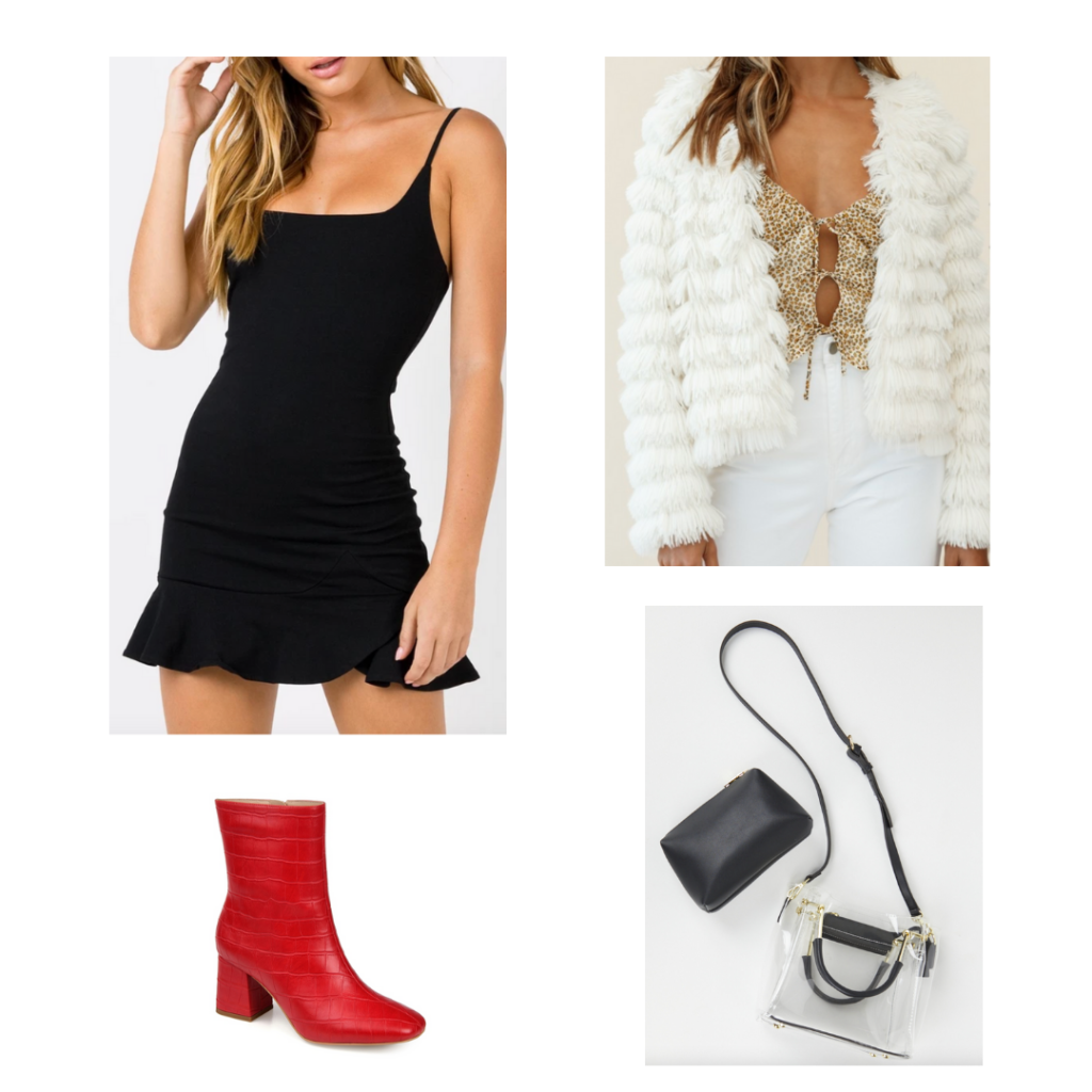 Game Day Sample Outfit 7: black fit-and-flare dress, white fringe jacket, red booties, clear purse