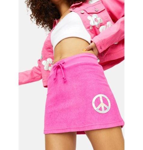 Terry Cloth Peace Sign Skirt