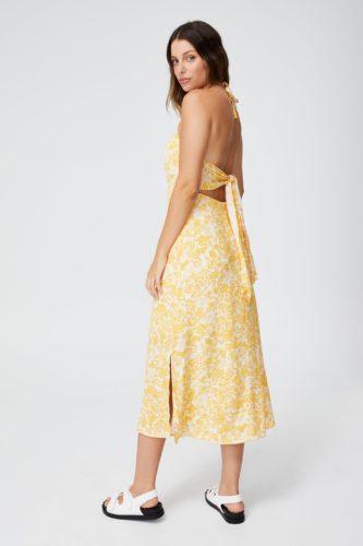 Tie Back Halter Midi Dress