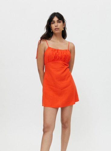 Linen Ruched Mini Dress