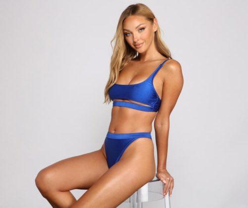 Royal Blue Bikini Top and High Rise Bottoms