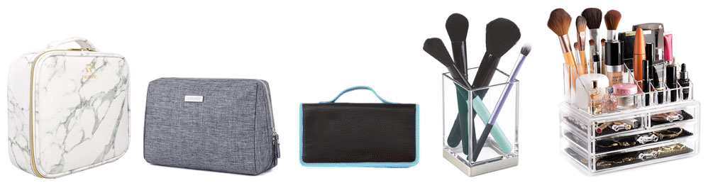 White and gray marble print makeup bag, simple gray zip make-up case with silver hardware, black brush roll with aqua-blue trim, clear makeup brush cup, clear plastic makeup organizer