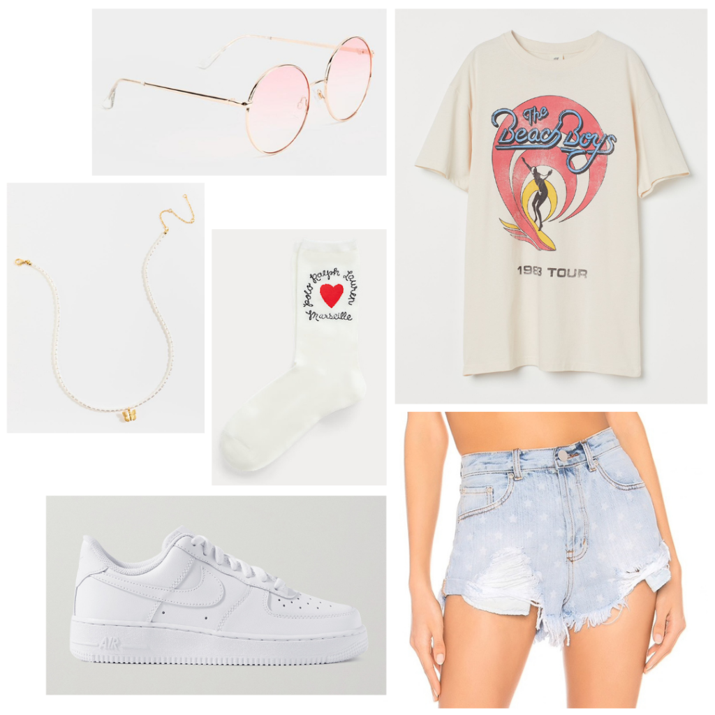 Lake day outfit: Oversized graphic tee, sneakers, gold jewelry, ripped denim shorts