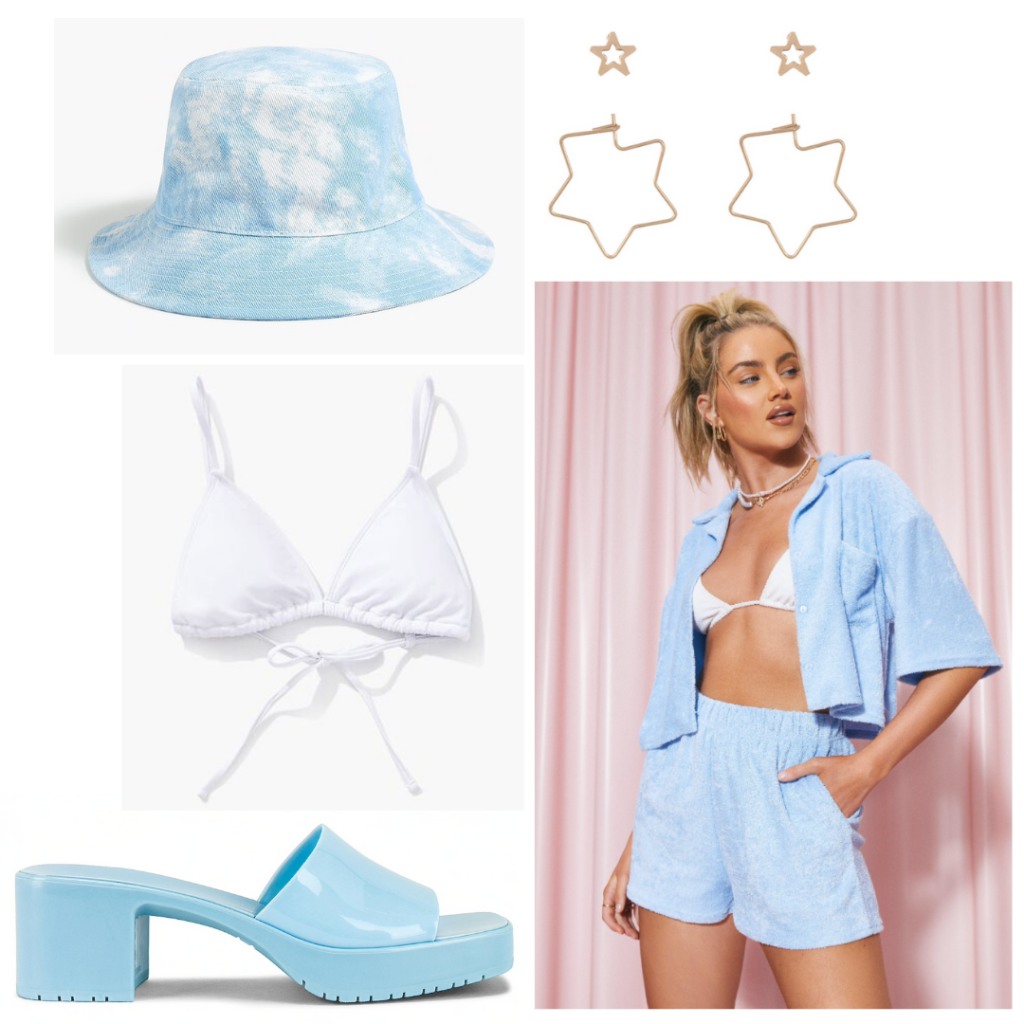 What to pack for a lake house: Blue terry two-piece set, white bikini, jelly slides, bucket hat