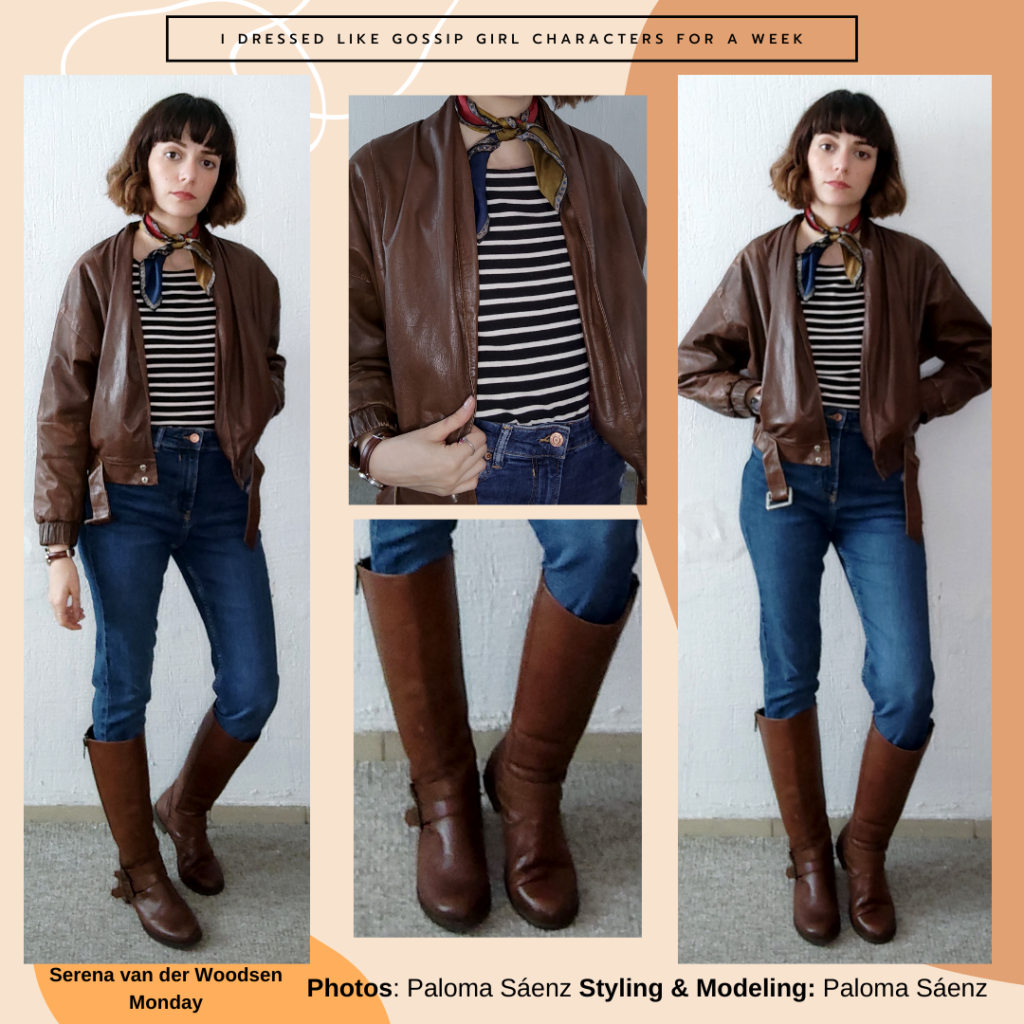 I dressed like Gossip Girl characters – outfit inspired by Serena Van Der Woodsen's style with dark wash skinny jeans, brown knee high boots, brown leather jacket, striped shirt, neck scarf