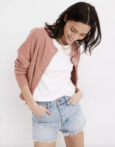 light-wash frayed denim shorts from Madewell