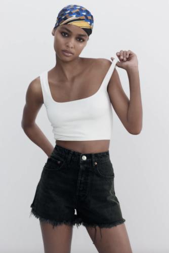 Zara black frayed high-waisted denim shorts