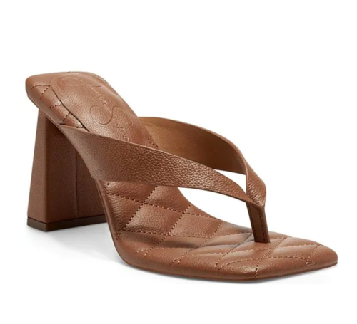 Jessica Simpson brown quilted thong heels from Dillards