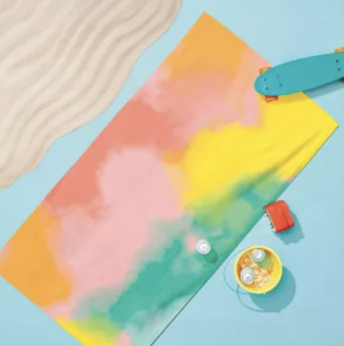 Tie dye print beach towel
