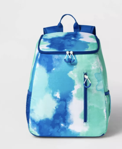 blue and green tie dye cooler