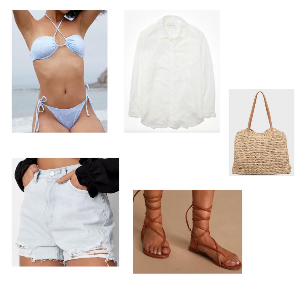 Cute bikini outfit 1: blue criss-cross halter bikini, white oversized button up, light wash denim shorts, gladiator brown flat sandals, wicker tote