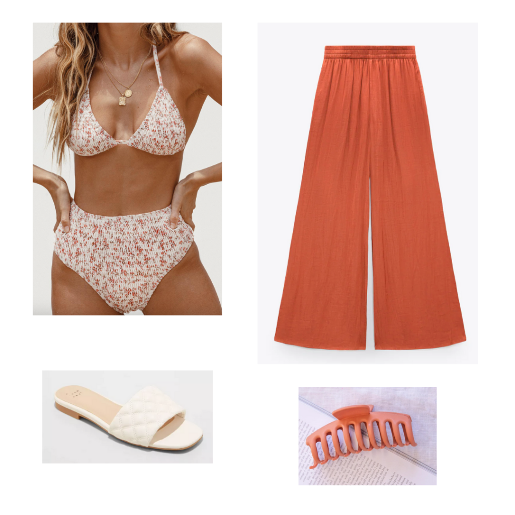 Outfit 2: floral high-waisted bikini set, wide leg flowy coral pants, coral hair claw, flat white slide sandals