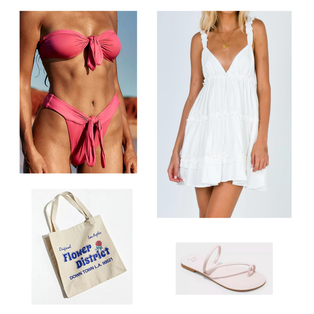 Cute bikini outfit 2: strapless tied bikini set, white summer dress, flat pink sandals, printed tote bag